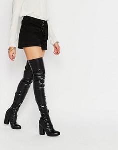 Черные стретчевые сапоги‑ботфорты на каблуке Jeffrey Campbell - Черный