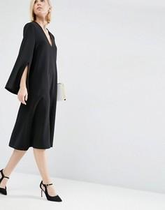 Платье миди с V-образным вырезом ASOS WHITE - Черный
