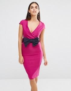 Платье-футляр с запахом и бантом Vesper - Розовый