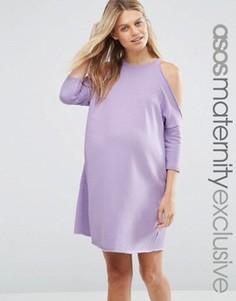 Трикотажное платье для беременных с вырезами на плечах ASOS Maternity - Розовый