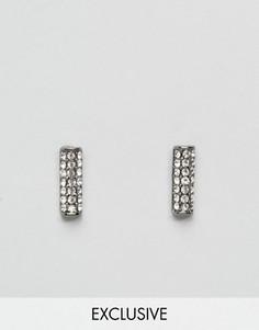 Уголки для воротника с камнями DesignB - Серебряный