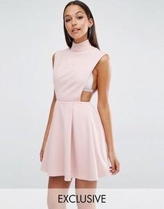 Платье мини с высокой горловиной AQ/AQ Sorah - Розовый