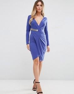 Платье с длинными рукавами и запахом с золотистой пряжкой Jessica Wright - Синий