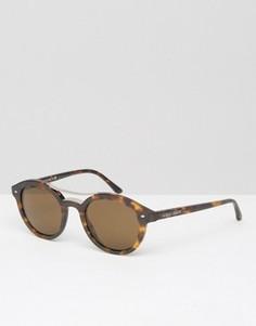 Круглые солнцезащитные очки в черепаховой оправе Giorgio Armani - Коричневый
