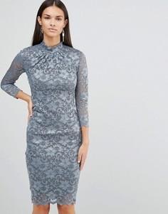 Кружевное платье с рукавами 3/4 и высокой горловиной City Goddess - Серый