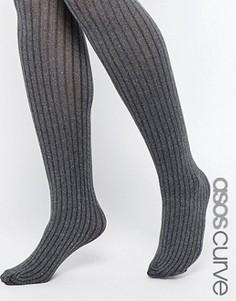 Серые меланжевые колготки в рубчик ASOS CURVE - Серый