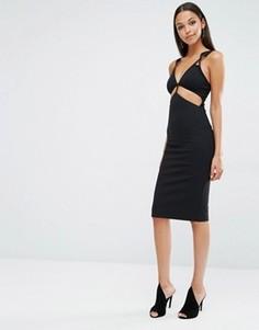 Платье миди с вырезами AQ/AQ King - Черный