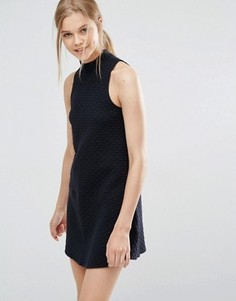 Платье с высоким воротом и заниженной талией Abercrombie & Fitch - Черный