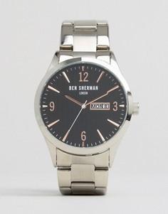 Серебристые с черным часы-браслет Ben Sherman - Серебряный