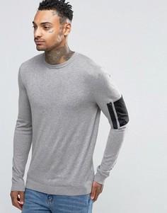 Джемпер с круглым вырезом и карманом в стиле милитари ASOS - Серый