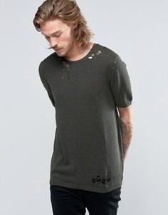 Вязаная футболка ASOS - Зеленый