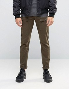 Супероблегающие брюки цвета хаки в стиле карго ASOS - Зеленый