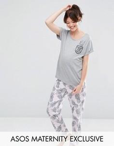 Пижамные футболка и брюки для беременных с ананасами ASOS Maternity - Мульти