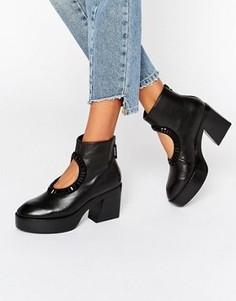 Черные кожаные ботильоны на каблуке с вырезами Kat Maconie Zula - Черный