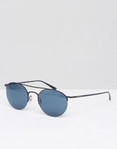 Черные круглые солнцезащитные очки Giorgio Armani - Черный