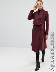 Пальто-трапеция для беременных с каскадной отделкой ASOS Maternity - Красный