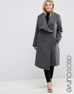 Пальто-трапеция с драпировкой с добавлением шерсти ASOS CURVE - Серый