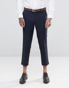 Укороченные фланелевые брюки суперузкого кроя Farah - Темно-синий