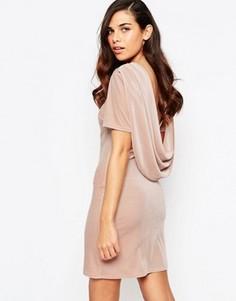 Бархатное платье с воротом-хомутиком сзади Lashes Of London Ellie - Розовый