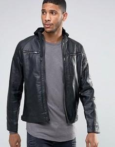 Байкерская куртка из искусственной кожи с отделкой в рубчик Brave Soul - Черный