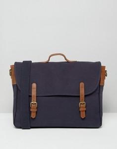 Темно-синий парусиновый портфель с коричневыми кожаными ремешками ASOS - Темно-синий