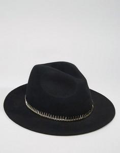 Мягкая фетровая шляпа с металлической окантовкой ASOS - Черный