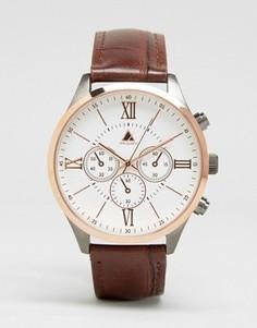 Часы цвета розового золота с коричневым ремешком ASOS - Коричневый