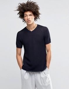 Ажурная вязаная футболка ASOS - Темно-синий