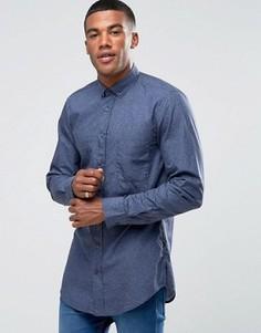 Длинная узкая рубашка с фактурным принтом BOSS Orange by Hugo Boss - Темно-синий