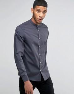Темно-серая рубашка классического кроя с воротом на пуговице ASOS - Серый