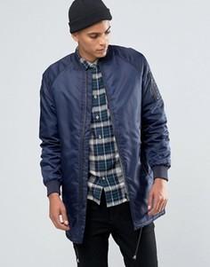 Длинная утепленная куртка-пилот Solid - Темно-синий