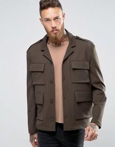 Куртка слим цвета хаки с карманами в стиле милитари ASOS - Зеленый