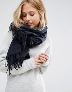 Темно-синий тканый шарф с шевронным узором и бахромой Pieces - Темно-синий