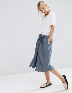Фактурная джинсовая юбка‑трапеция с завязкой спереди ASOS - Синий