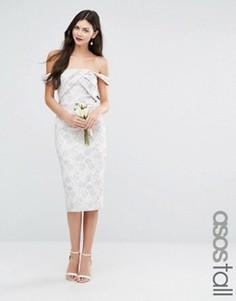 Жаккардовое платье‑футляр миди ASOS TALL WEDDING - Мульти