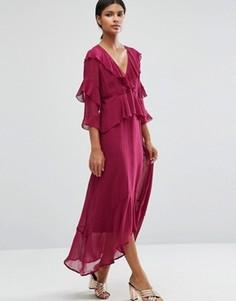 Платье макси с глубоким вырезом и оборками спереди ASOS - Розовый