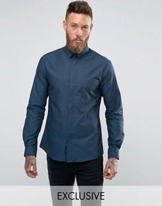 Рубашка зауженного кроя с узором гусиная лапка Noose and Monkey - Синий