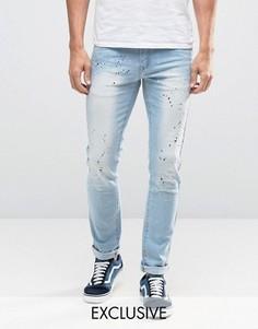 Узкие джинсы с эффектом брызг Heros Heroine - Синий