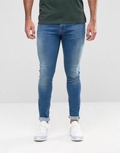 Синие джинсы с напылением Hoxton Denim - Синий