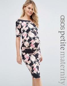 Платье бардо для беременных с укороченными рукавами и цветочным принтом ASOS Maternity PETITE - Мульти