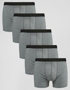 Комплект из 5 меланжевых боксеров-брифов ASOS СКИДКА 20 - Серый