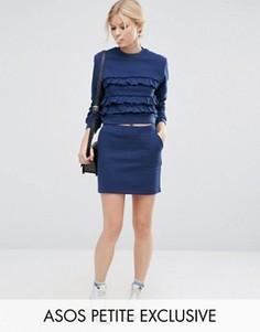 Трикотажная мини‑юбка с люрексовой отделкой ASOS PETITE Co-ord - Темно-синий