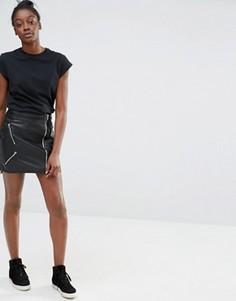 Байкерская юбка из искусственной кожи Only - Черный