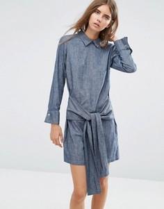 Джинсовое платье‑рубашка с завязкой спереди и пуговицами сзади ASOS - Синий