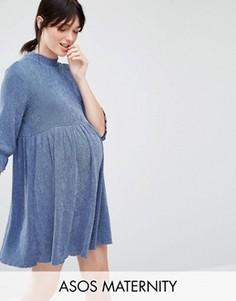 Платье для беременных с фактурой денима и присборенной юбкой ASOS Maternity - Синий