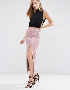 Атласная юбка макси ASOS Premium - Розовый