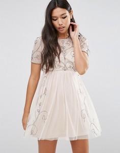 Короткое приталенное платье с отделкой Boohoo Boutique - Рыжий