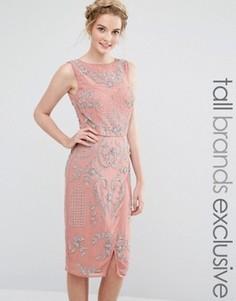 Декорированное платье миди с запахом на юбке Maya Tall - Розовый