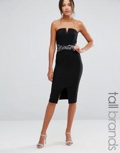 Платье-футляр с лифом-бандо и отделкой на талии Little Mistress Tall - Черный