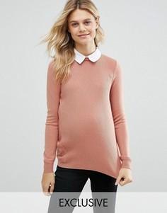 Джемпер в рубчик для беременных с воротником ASOS Maternity - Розовый